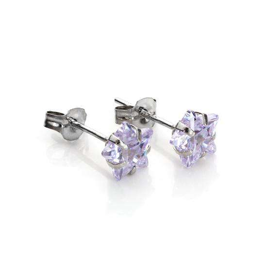 9ct White Gold Lilac Crystal 6mm Star Stud Earrings
