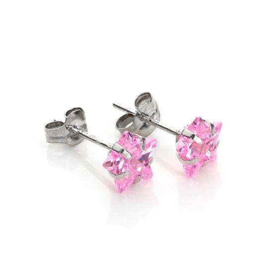 9ct White Gold Pink Crystal 6mm Star Stud Earrings