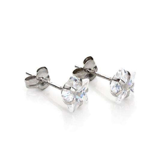 9ct White Gold Clear Crystal 6mm Star Stud Earrings