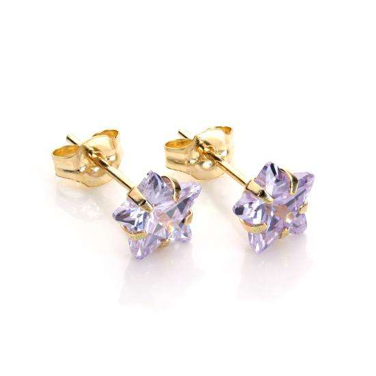 9ct Yellow Gold Lilac Crystal 6mm Star Stud Earrings