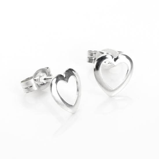 Sterling Silver Open Rounded Heart Stud Earrings