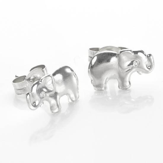 Sterling Silver Cute Elephant Stud Earrings