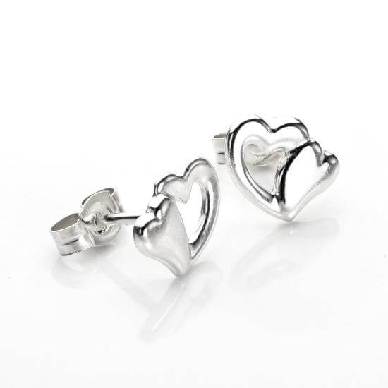 Sterling Silver Double Hearts Stud Earrings