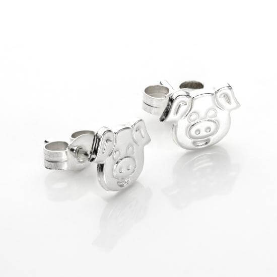 Sterling Silver Cute Pig Stud Earrings