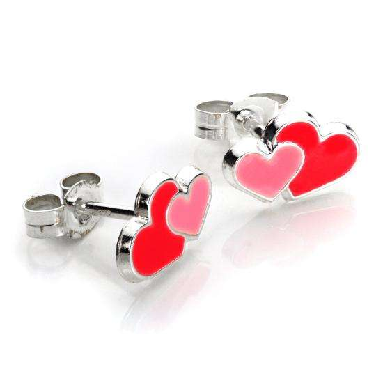 Sterling Silver Enamelled Double Hearts Stud Earrings
