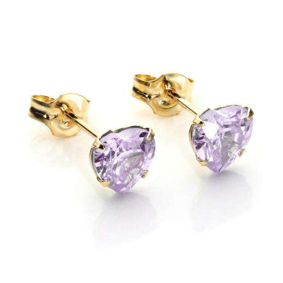 9ct Yellow Gold Lilac CZ 5mm Heart Stud Earrings