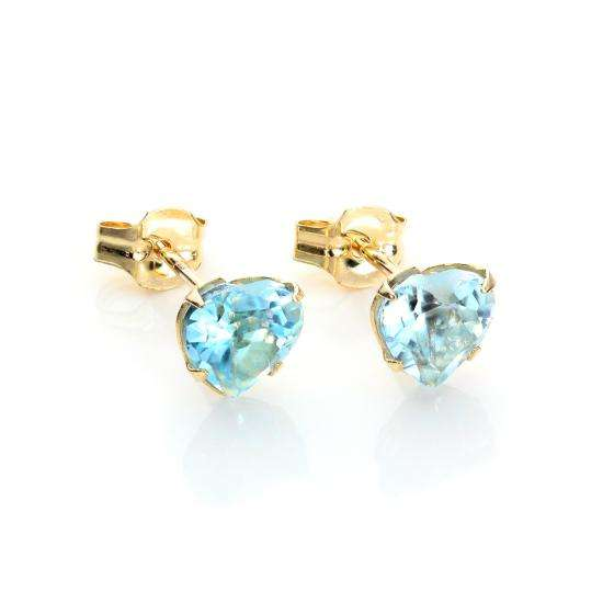 9ct Yellow Gold Sky Blue Topaz 5mm Heart Stud Earrings
