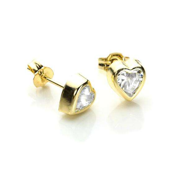 9ct Yellow Gold Clear CZ 5mm Heart Stud Earrings
