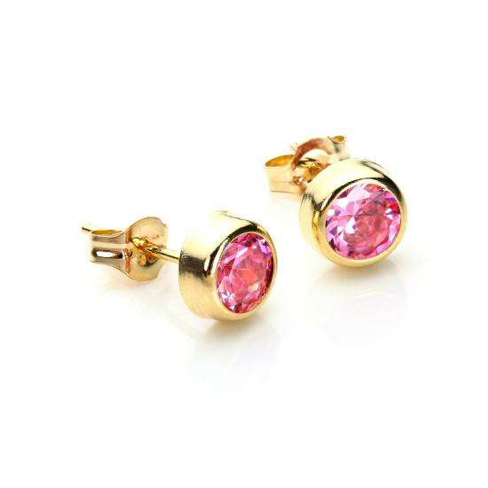 9ct Yellow Gold Pink CZ 5mm Round Stud Earrings