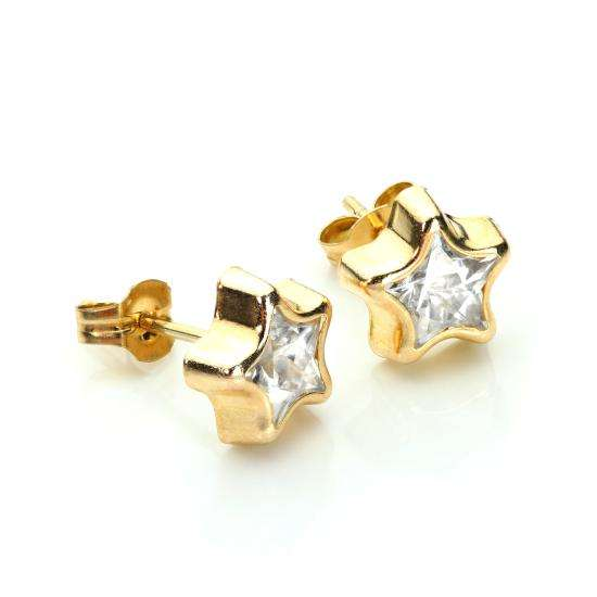 9ct Yellow Gold Clear CZ 6mm Star Stud Earrings