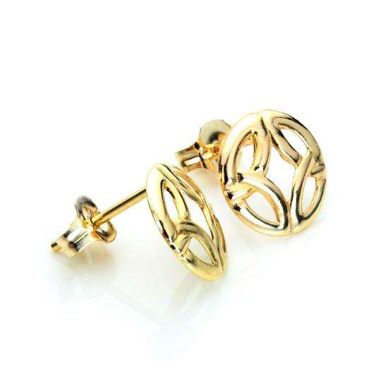 9ct Yellow Gold Round Celtic Design Stud Earrings