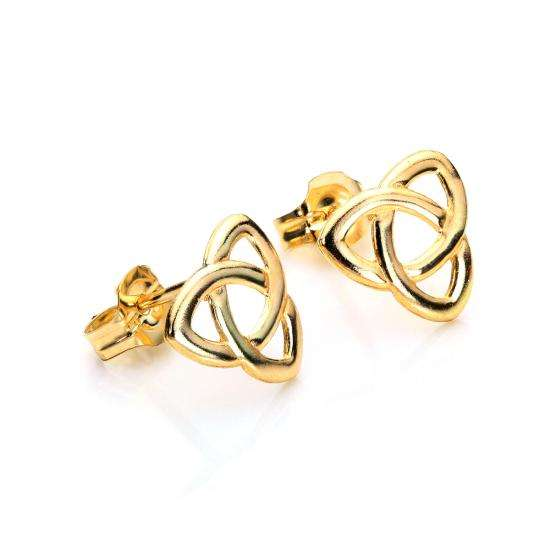 9ct Yellow Gold Triangular Celtic Knot Stud Earrings