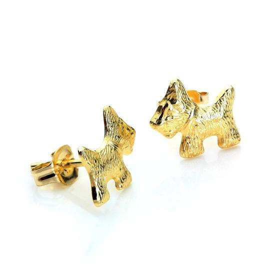 9ct Yellow Gold Scottie Dog Stud Earrings