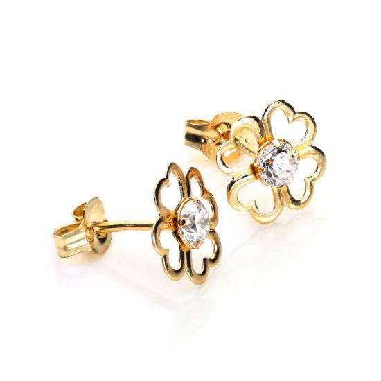9ct Yellow Gold Clear CZ 4 Leaf Clover Stud Earrings