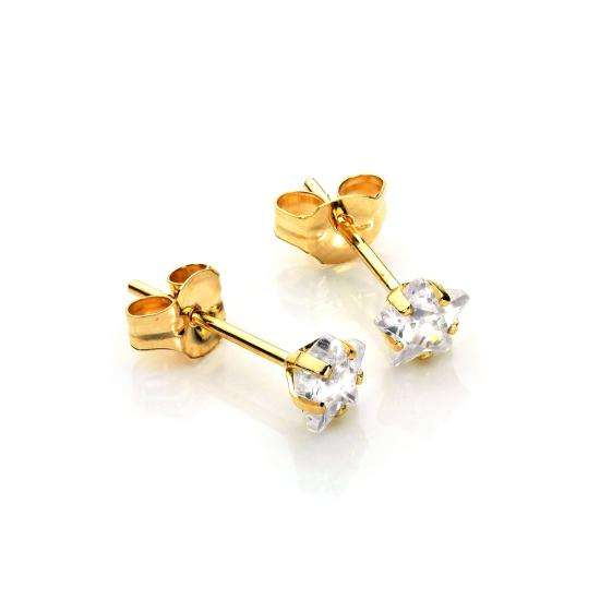 9ct Gold Clear CZ 4mm Star Stud Earrings