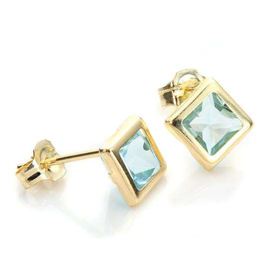 9ct Yellow Gold Sky Blue Topaz 5mm Stud Earrings