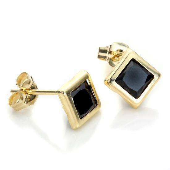 9ct Yellow Gold Sapphire 5mm Square Stud Earrings