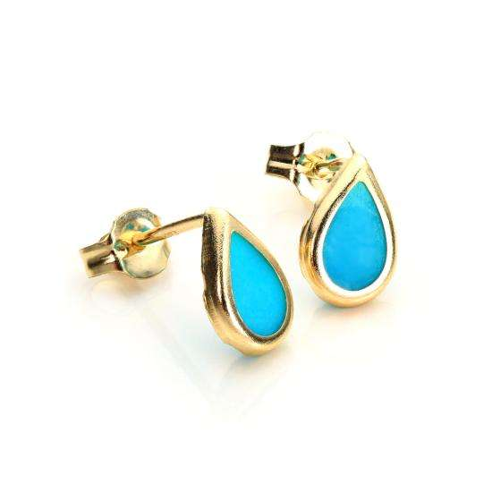9ct Yellow Gold Turquoise December Birthstone Stud Earrings