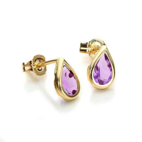 9ct Yellow Gold Amethyst February Birthstone Stud Earrings