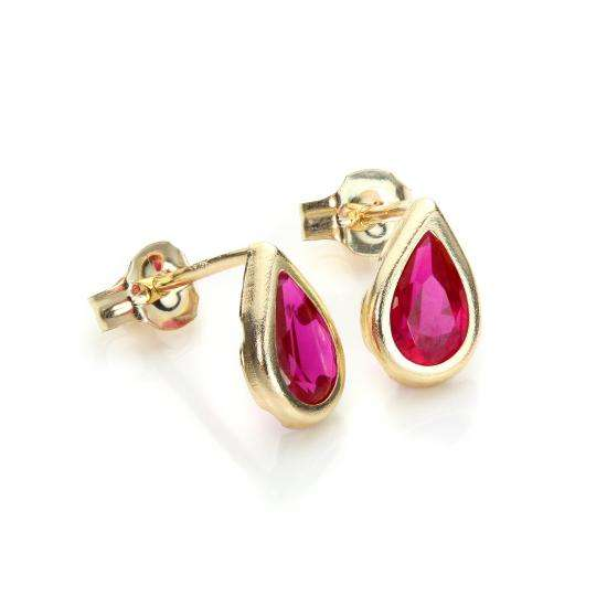 9ct Yellow Gold Ruby CZ July Birthstone Stud Earrings