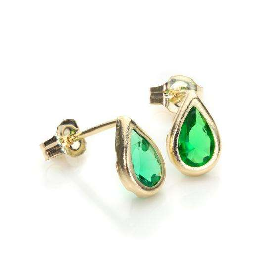 9ct Yellow Gold Emerald CZ May Birthstone Stud Earrings