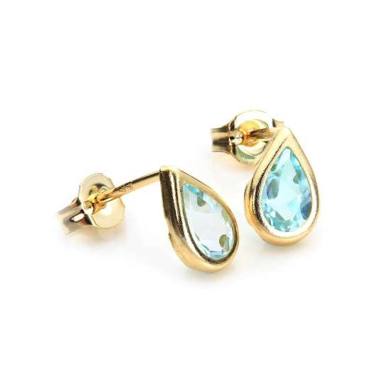 9ct Yellow Gold Sky Blue Topaz November Birthstone Stud Earrings