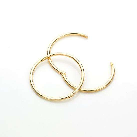 9ct Yellow Gold 16mm Plain Hoop Earrings