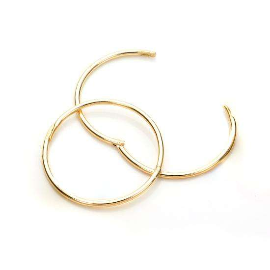 9ct Yellow Gold 19mm Plain Hoop Earrings