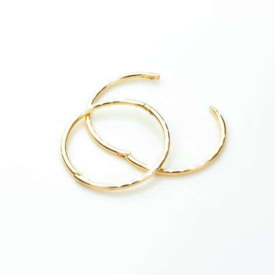 9ct Yellow Gold 15mm Diamond Cut Hinged Hoop Earrings