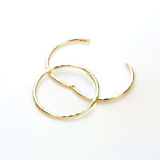 9ct Yellow Gold 16mm Diamond Cut Hinged Hoop Earrings