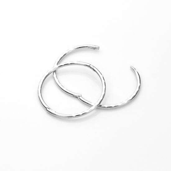 Sterling Silver 14mm Diamond Cut Hinged Hoop Earrings