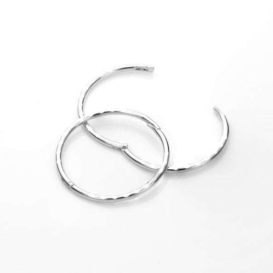 Sterling Silver 16mm Diamond Cut Hinged Hoop Earrings