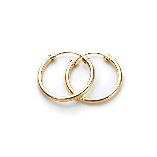 9ct Yellow Gold 18mm Plain Capped Tube Hoop Earrings