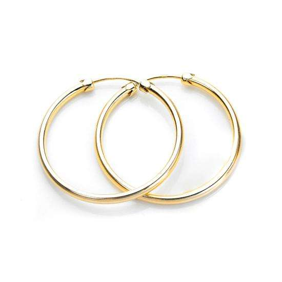 9ct Yellow Gold 26mm Plain Capped Tube Hoop Earrings