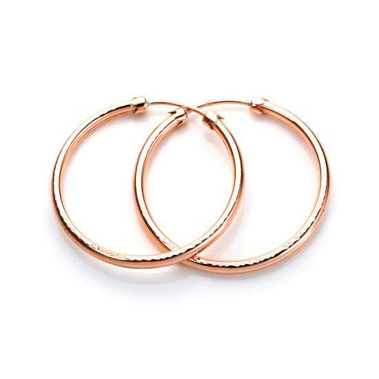 9ct Rose Gold 26mm Diamond Cut Capped Tube Hoop Earrings
