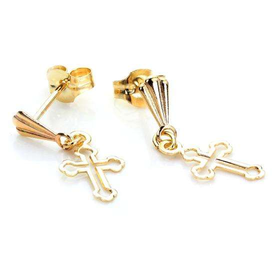 9ct Yellow Gold Small Cross Outline Stud Earrings