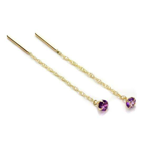 9ct Yellow Gold Amethyst 3.5mm Pull Through Earrings