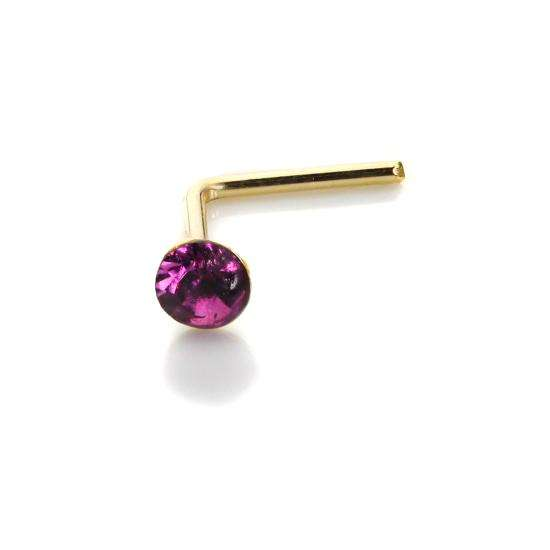 9ct Yellow Gold Amethyst CZ 2mm Nose Stud