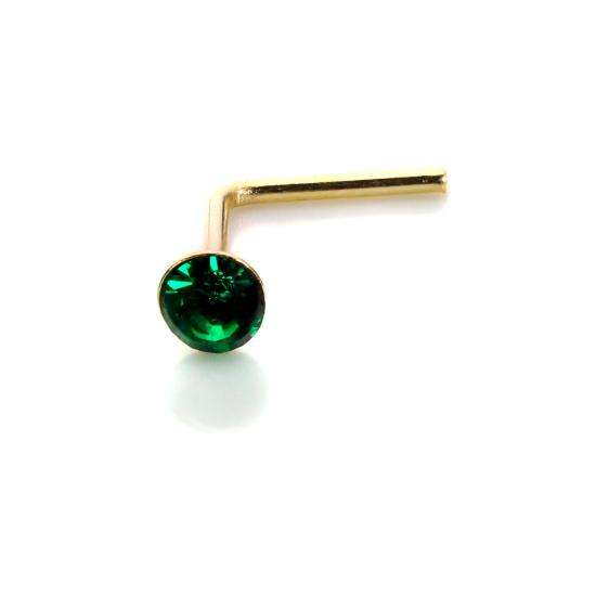 9ct Yellow Gold Emerald CZ 2mm Nose Stud