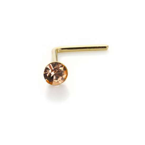 9ct Yellow Gold Peach CZ 2mm Nose Stud