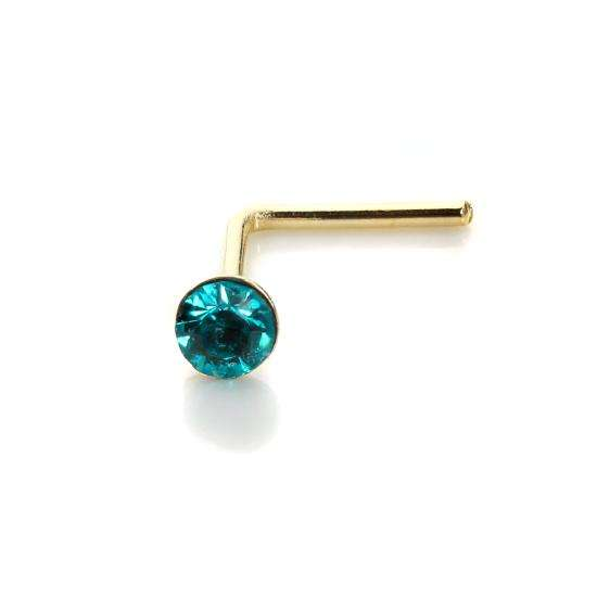 9ct Yellow Gold Blue Zircon CZ 2mm Nose Stud