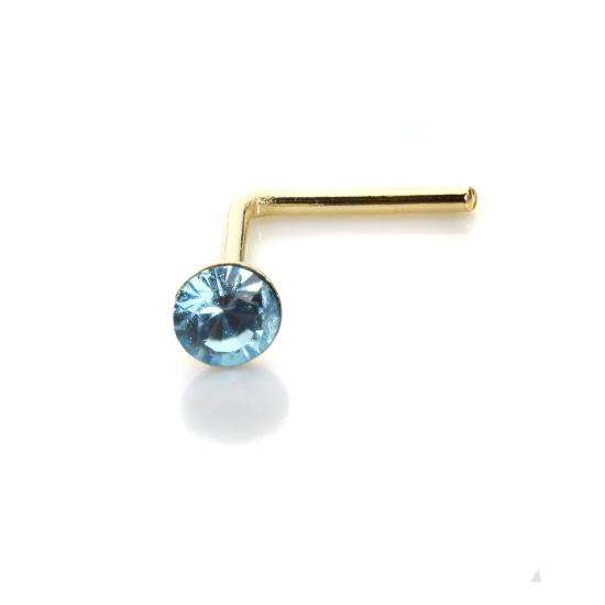 9ct Yellow Gold Aquamarine CZ 2mm Nose Stud