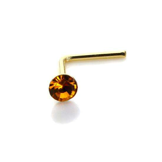 9ct Yellow Gold Topaz CZ 2mm Nose Stud