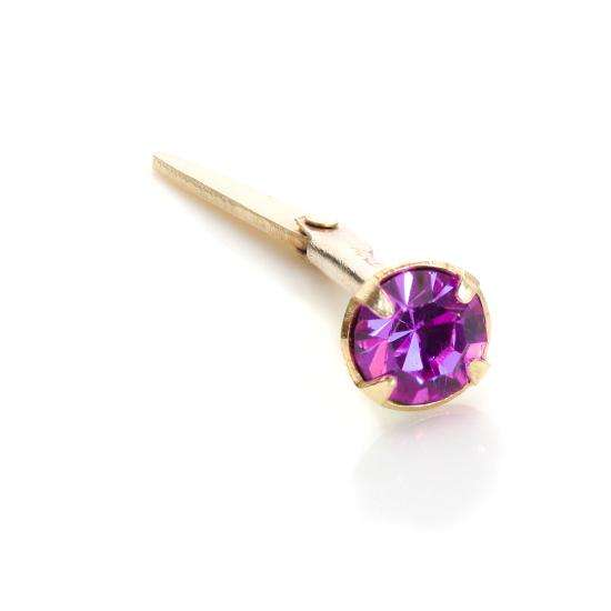 Andralok 9ct Yellow Gold Amethyst CZ 3mm Nose Stud