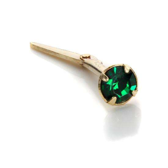 Andralok 9ct Yellow Gold Emerald CZ 3mm Nose Stud