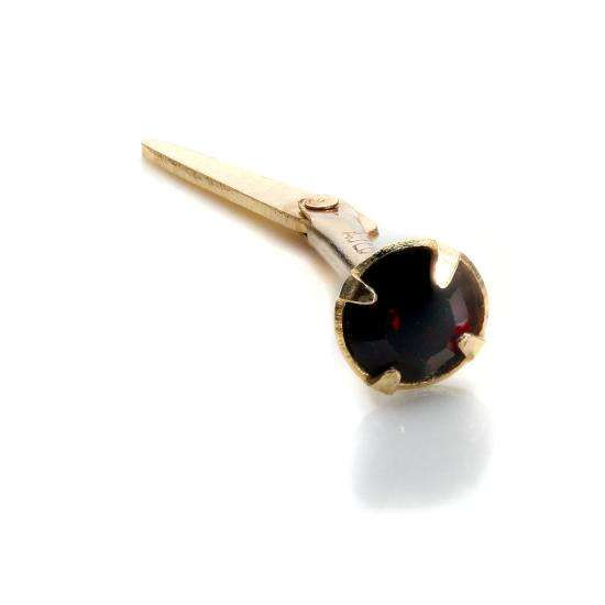 Andralok 9ct Yellow Gold Garnet CZ 3mm Nose Stud