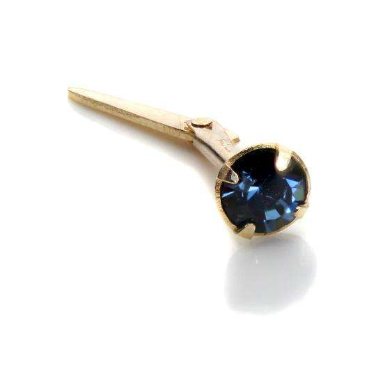 Andralok 9ct Yellow Gold Dark Blue CZ 3mm Nose Stud
