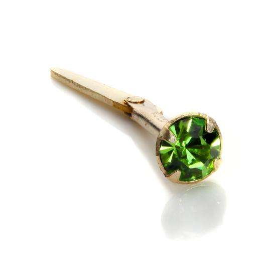Andralok 9ct Yellow Gold Peridot CZ 3mm Nose Stud