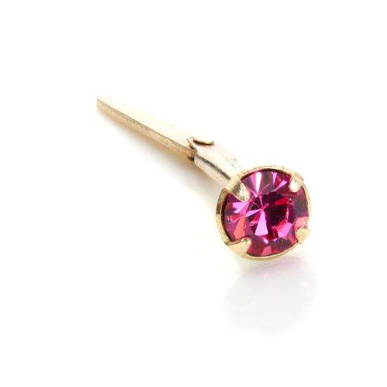 Andralok 9ct Yellow Gold Rose CZ 3mm Nose Stud