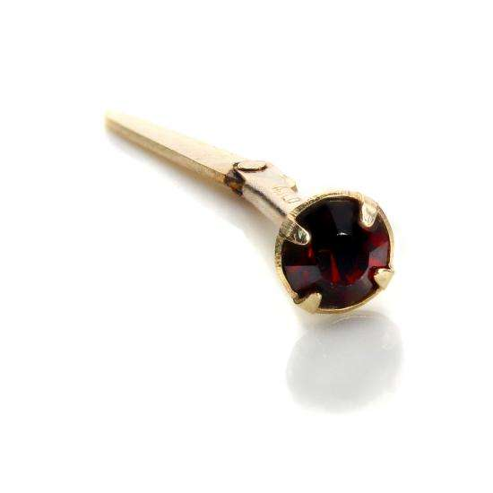 Andralok 9ct Yellow Gold Siam Ruby CZ 3mm Nose Stud